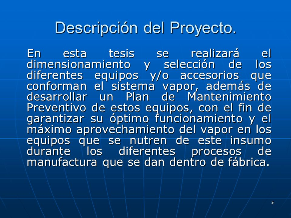 Descripción del Proyecto.