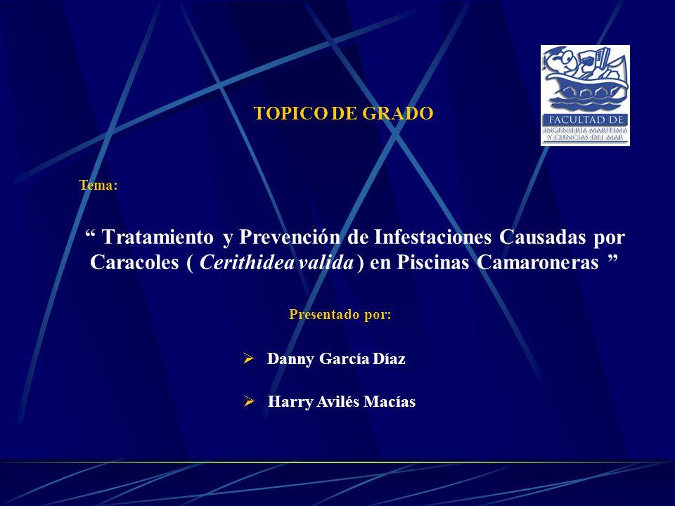 TOPICO DE GRADO Tema: Tratamiento y Prevención de Infestaciones Causadas por Caracoles ( Cerithidea valida ) en Piscinas Camaroneras
