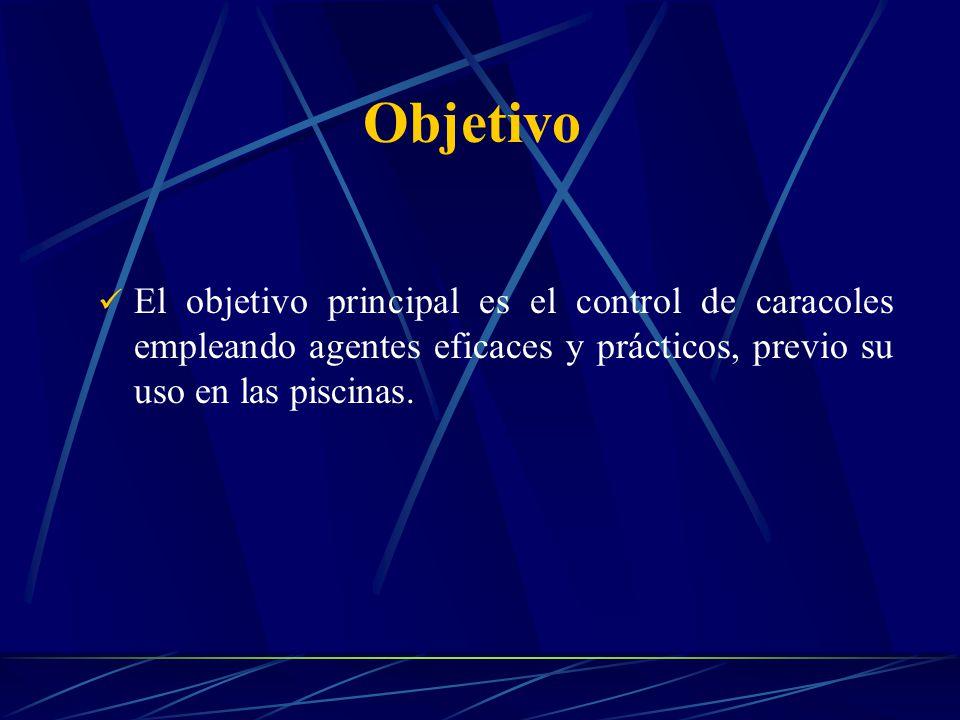 Objetivo El objetivo principal es el control de caracoles empleando agentes eficaces y prácticos, previo su uso en las piscinas.