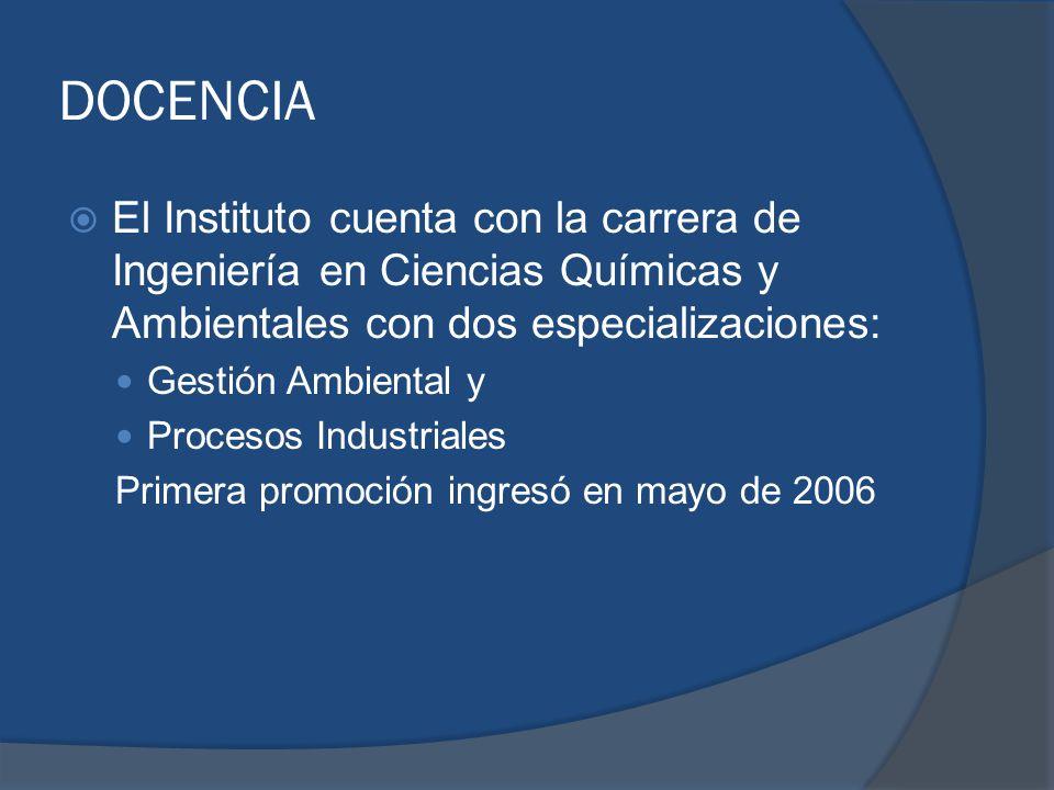 DOCENCIA El Instituto cuenta con la carrera de Ingeniería en Ciencias Químicas y Ambientales con dos especializaciones: