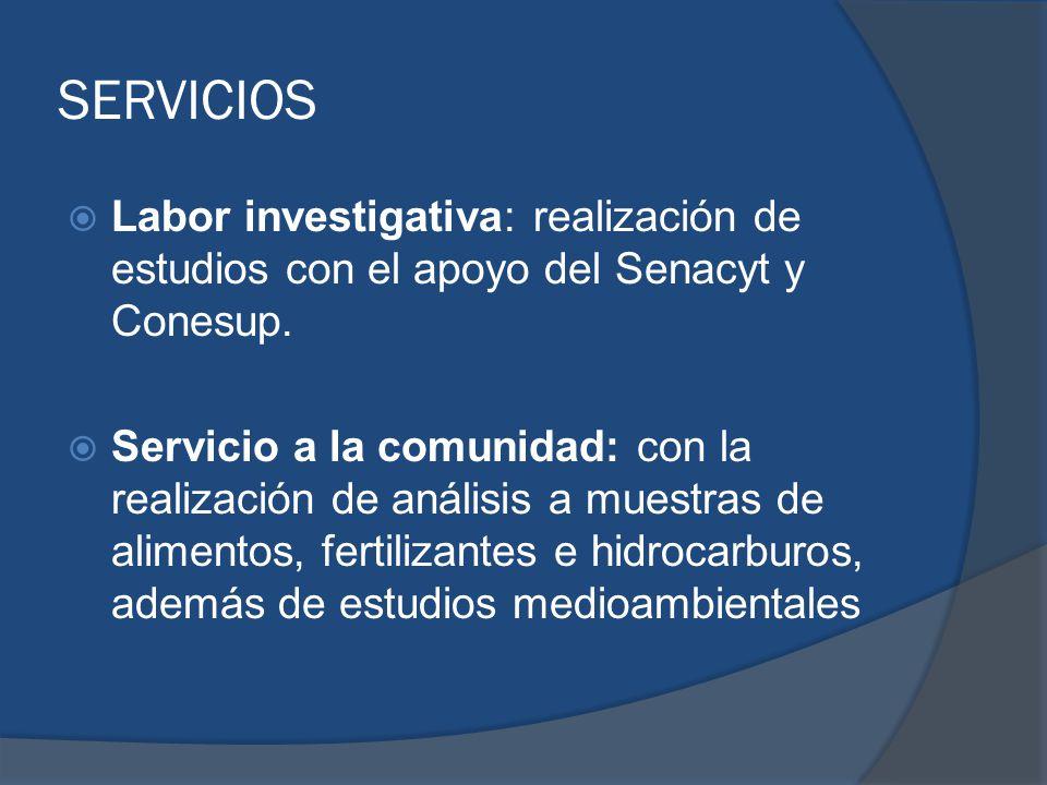 SERVICIOS Labor investigativa: realización de estudios con el apoyo del Senacyt y Conesup.