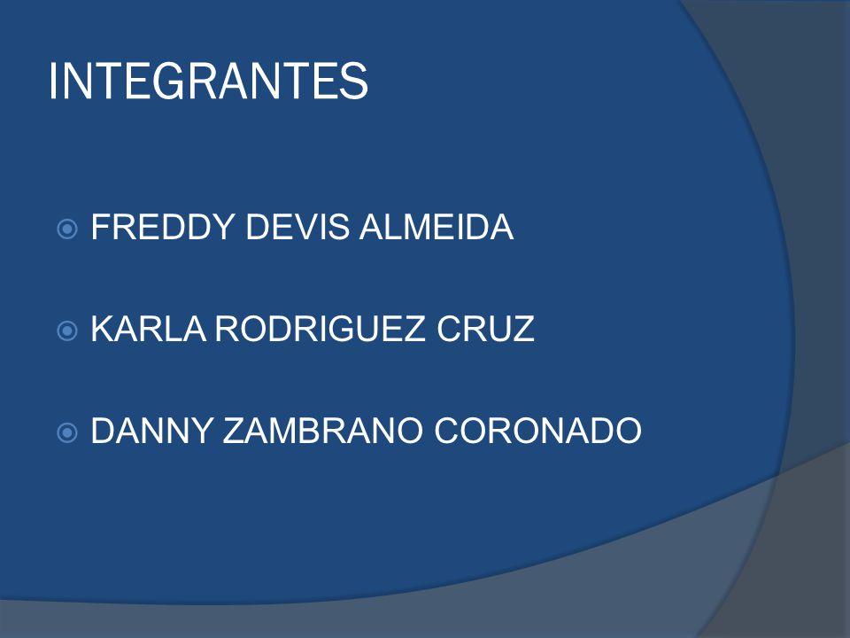 INTEGRANTES FREDDY DEVIS ALMEIDA KARLA RODRIGUEZ CRUZ