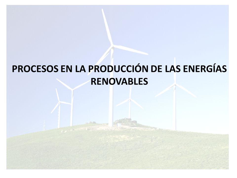PROCESOS EN LA PRODUCCIÓN DE LAS ENERGÍAS RENOVABLES
