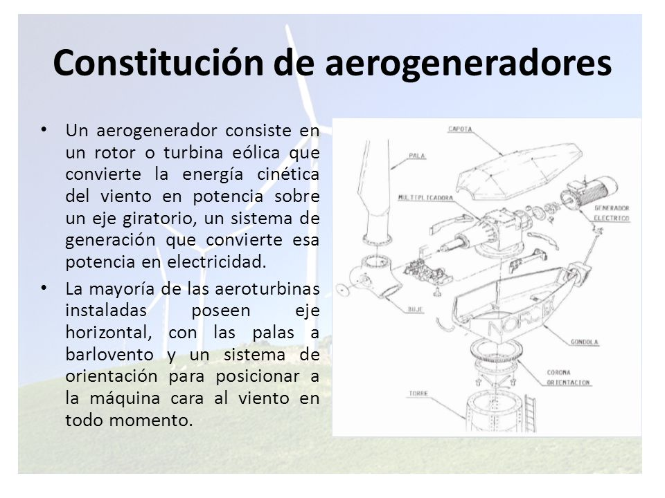 Constitución de aerogeneradores