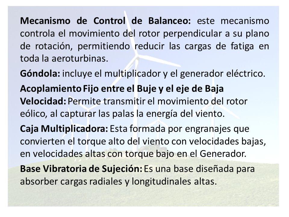 Mecanismo de Control de Balanceo: este mecanismo controla el movimiento del rotor perpendicular a su plano de rotación, permitiendo reducir las cargas de fatiga en toda la aeroturbinas.
