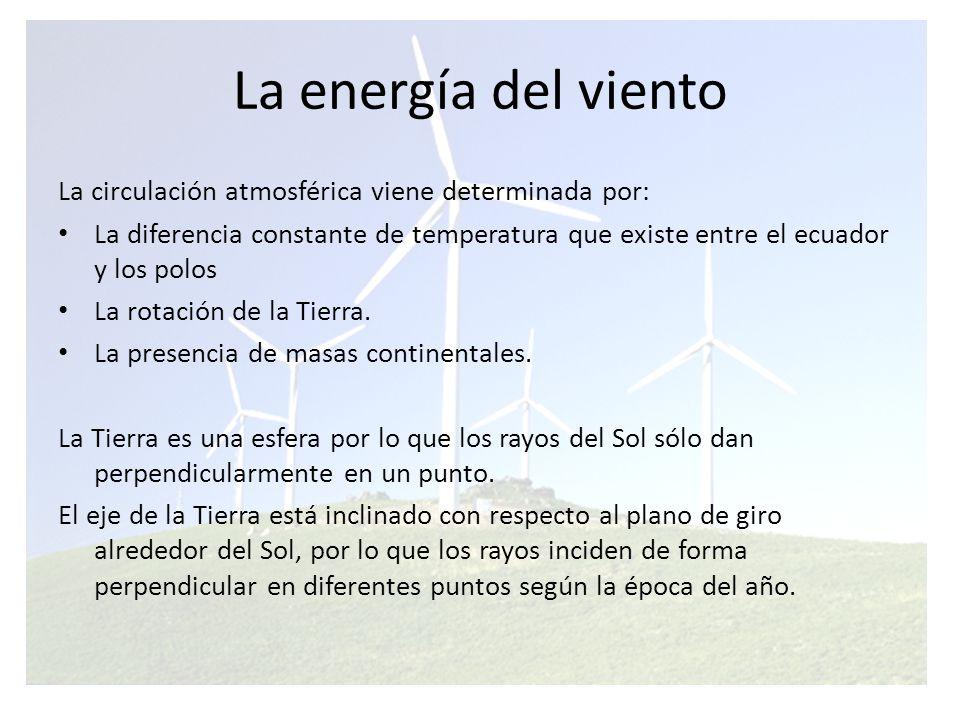 La energía del viento La circulación atmosférica viene determinada por:
