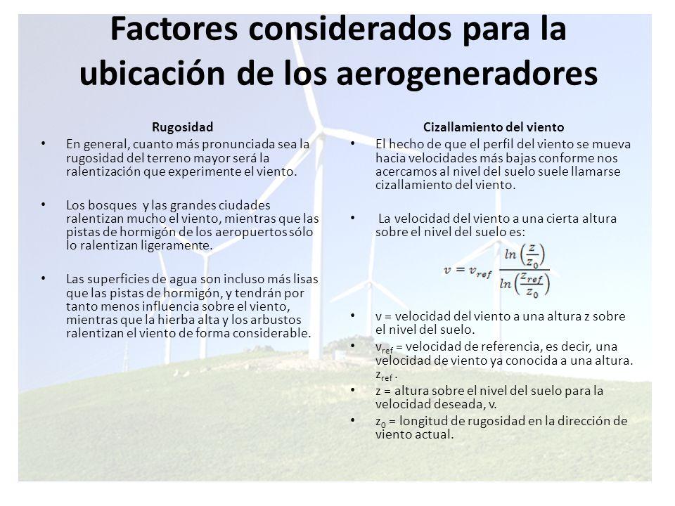 Factores considerados para la ubicación de los aerogeneradores