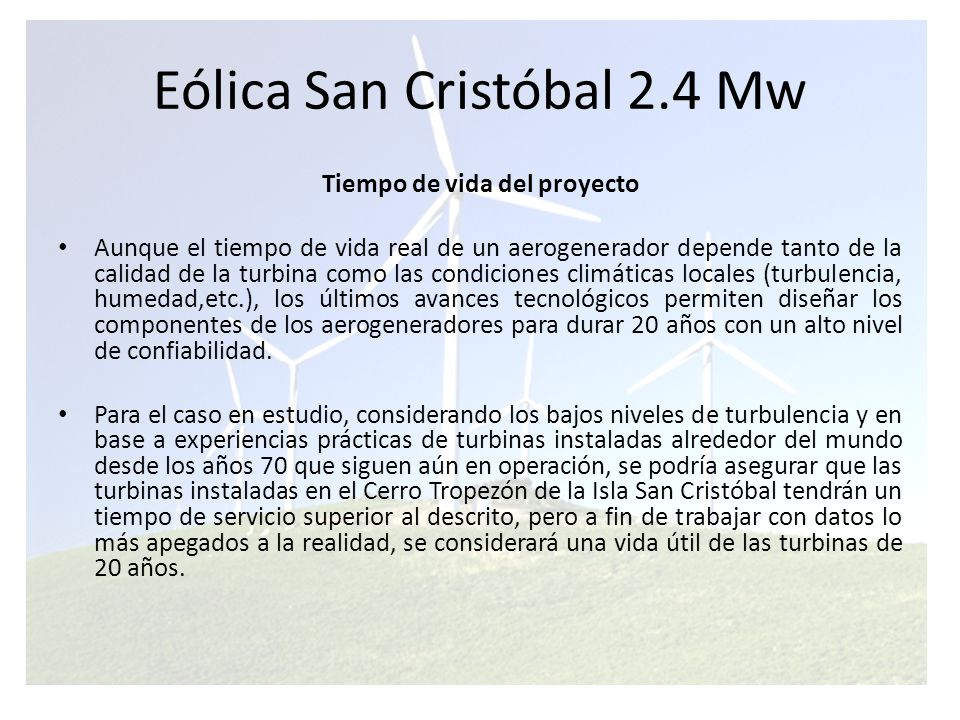 Eólica San Cristóbal 2.4 Mw
