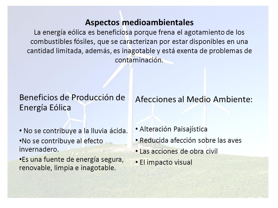 Beneficios de Producción de Energía Eólica