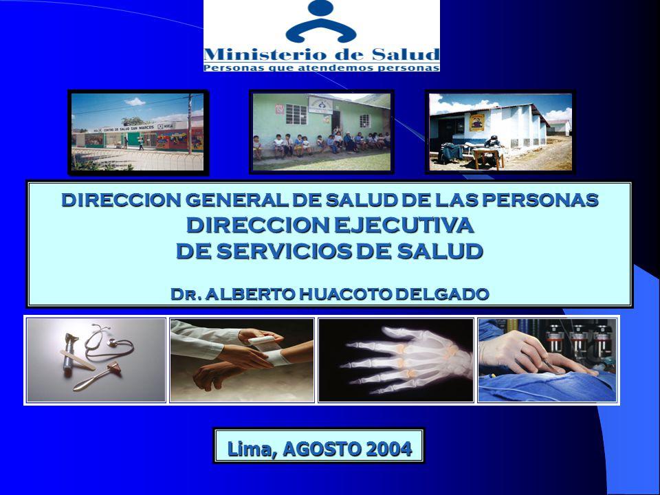 DIRECCION GENERAL DE SALUD DE LAS PERSONAS DIRECCION EJECUTIVA DE SERVICIOS DE SALUD Dr. ALBERTO HUACOTO DELGADO