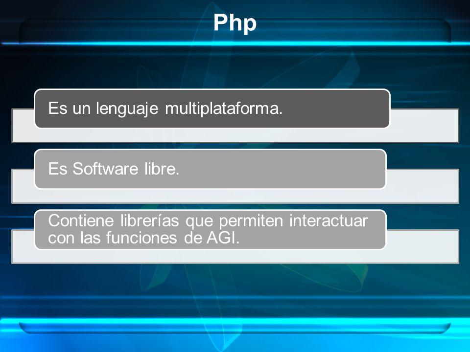 Php Es un lenguaje multiplataforma. Es Software libre.