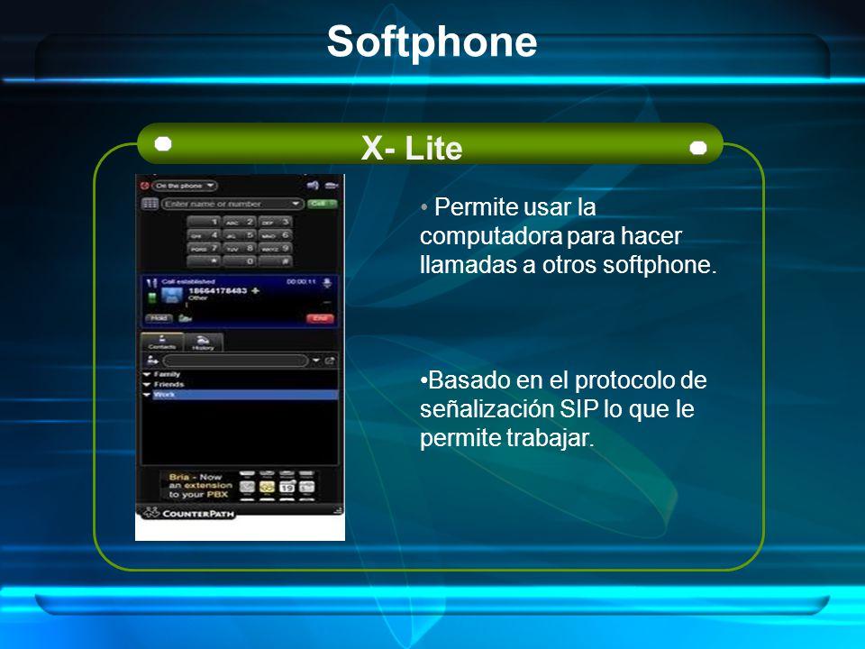 Softphone X- Lite. Permite usar la computadora para hacer llamadas a otros softphone.