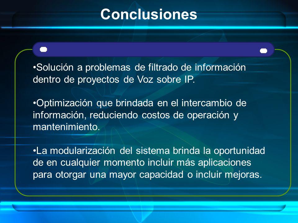 Conclusiones Solución a problemas de filtrado de información dentro de proyectos de Voz sobre IP.