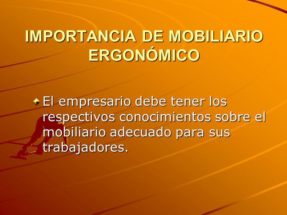 IMPORTANCIA DE MOBILIARIO ERGONÓMICO