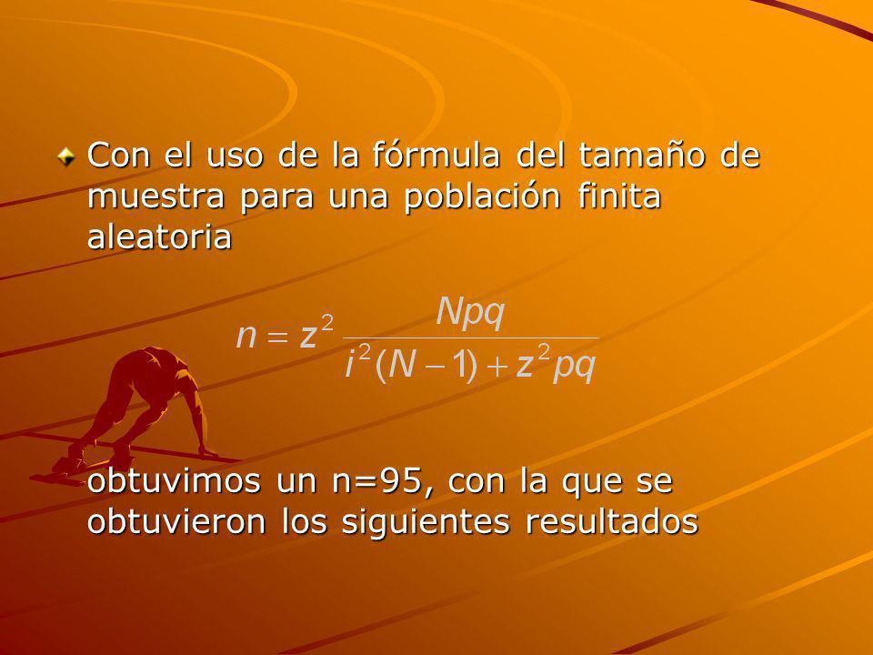 Con el uso de la fórmula del tamaño de muestra para una población finita aleatoria