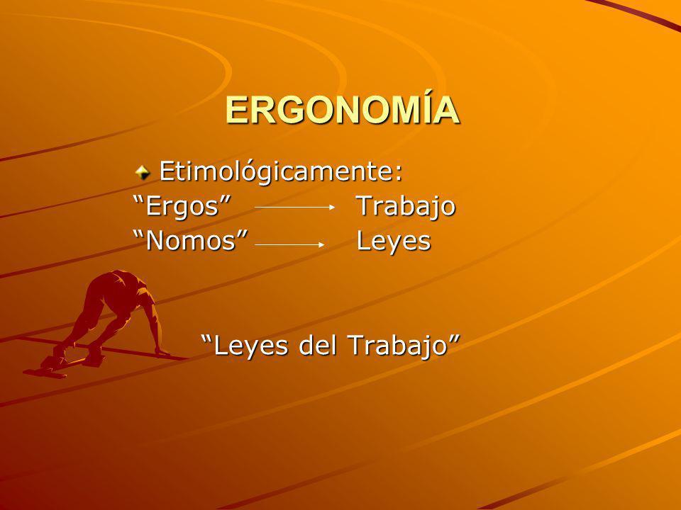 ERGONOMÍA Etimológicamente: Ergos Trabajo Nomos Leyes