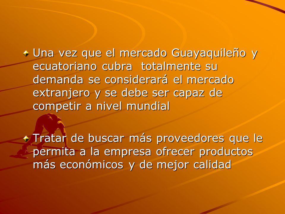 Una vez que el mercado Guayaquileño y ecuatoriano cubra totalmente su demanda se considerará el mercado extranjero y se debe ser capaz de competir a nivel mundial