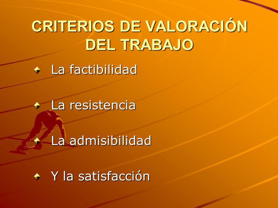 CRITERIOS DE VALORACIÓN DEL TRABAJO