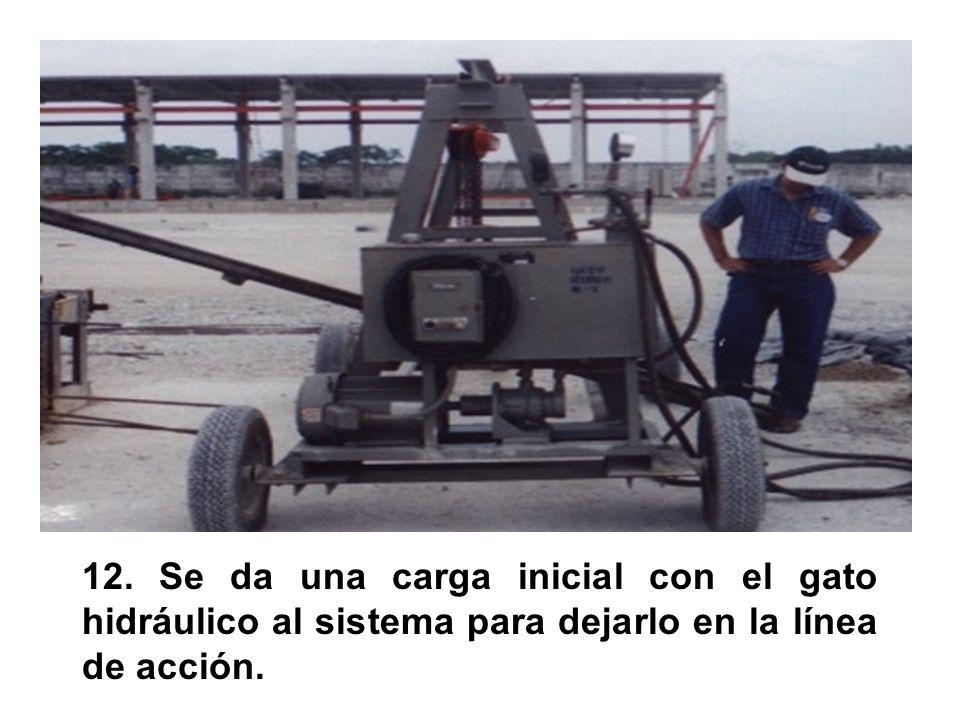 12. Se da una carga inicial con el gato hidráulico al sistema para dejarlo en la línea de acción.