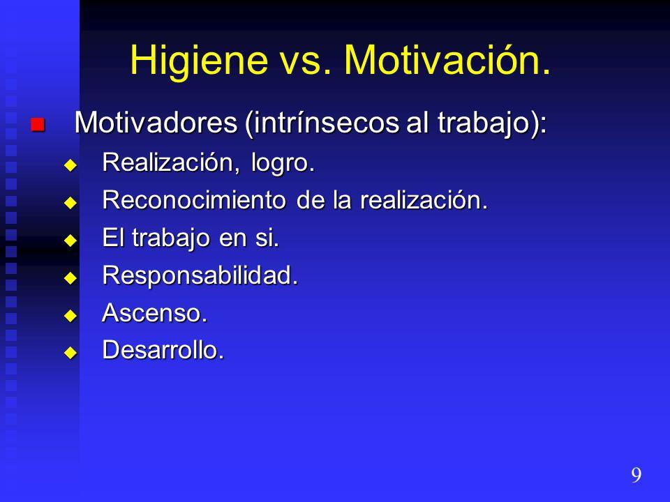 Higiene vs. Motivación. Motivadores (intrínsecos al trabajo):