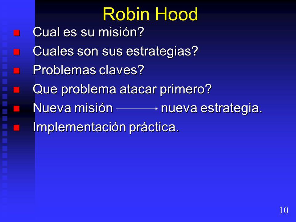 Robin Hood Cual es su misión Cuales son sus estrategias