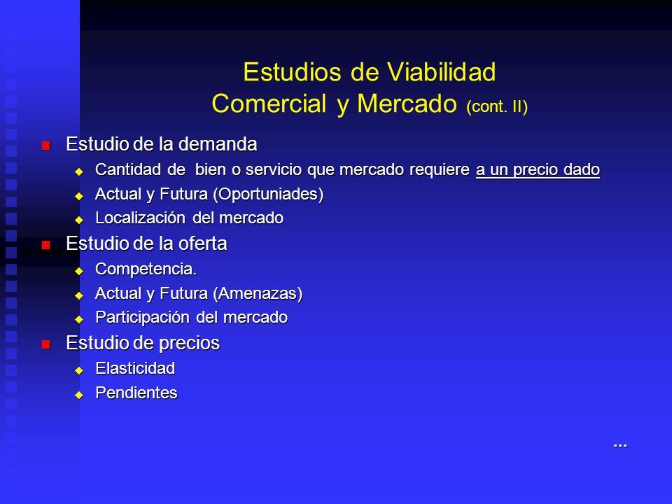 Estudios de Viabilidad Comercial y Mercado (cont. II)