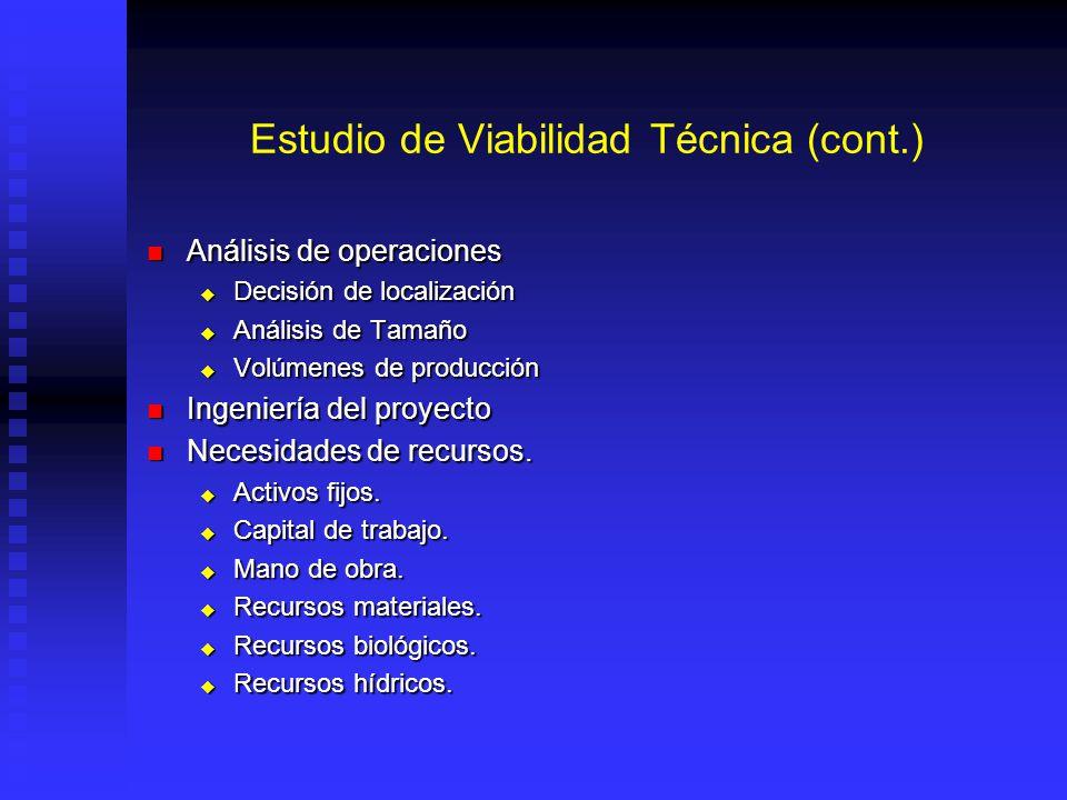 Estudio de Viabilidad Técnica (cont.)
