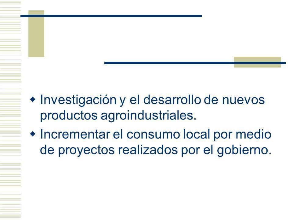 Investigación y el desarrollo de nuevos productos agroindustriales.