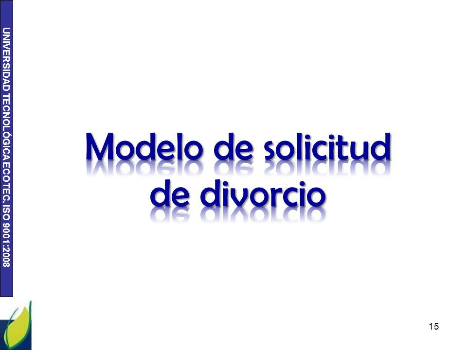 Modelo de solicitud de divorcio