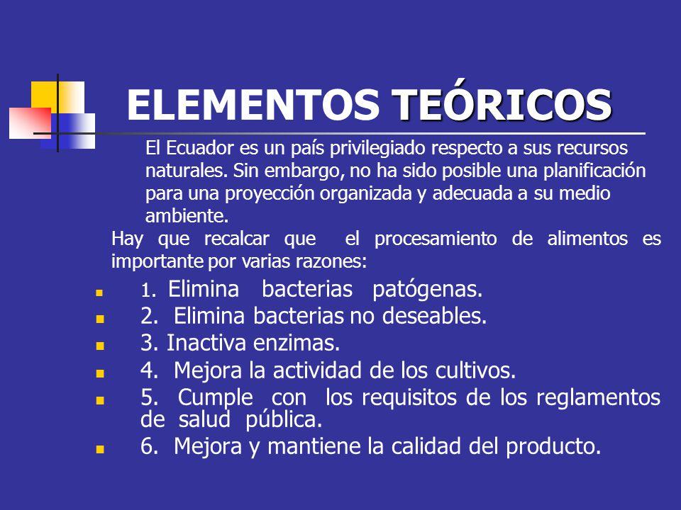 ELEMENTOS TEÓRICOS 2. Elimina bacterias no deseables.
