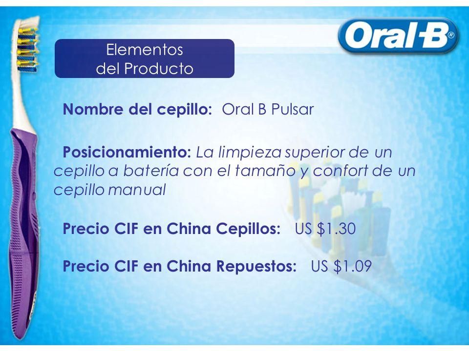 Elementos del Producto. Nombre del cepillo: Oral B Pulsar.