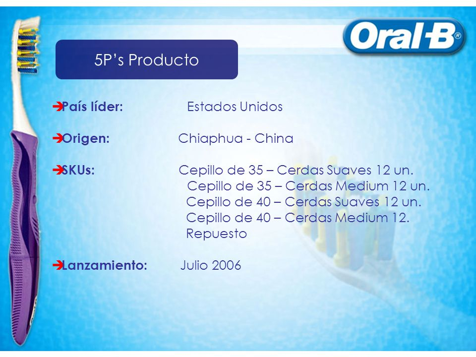 5P's Producto País líder: Estados Unidos Origen: Chiaphua - China