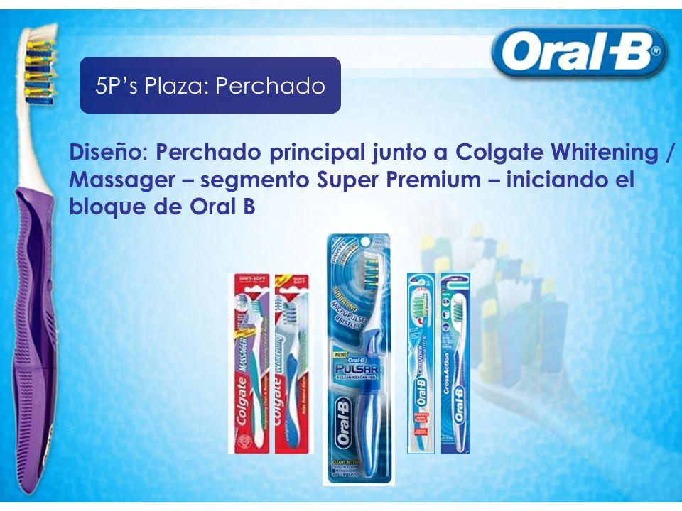 5P's Plaza: Perchado Diseño: Perchado principal junto a Colgate Whitening / Massager – segmento Super Premium – iniciando el bloque de Oral B.