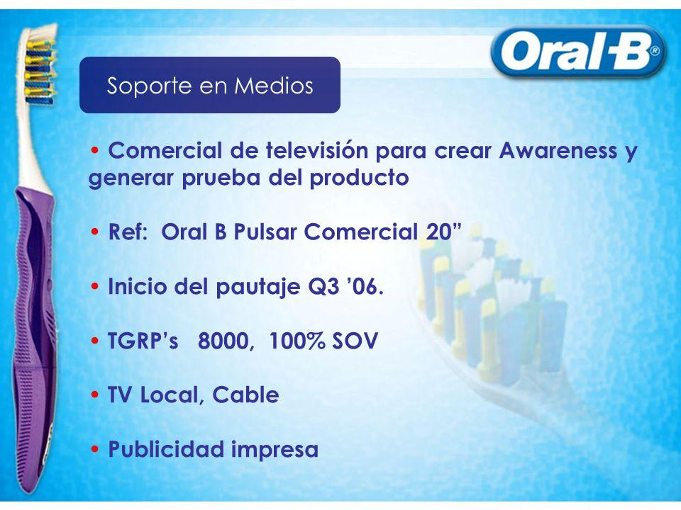 Soporte en Medios Comercial de televisión para crear Awareness y. generar prueba del producto. Ref: Oral B Pulsar Comercial 20