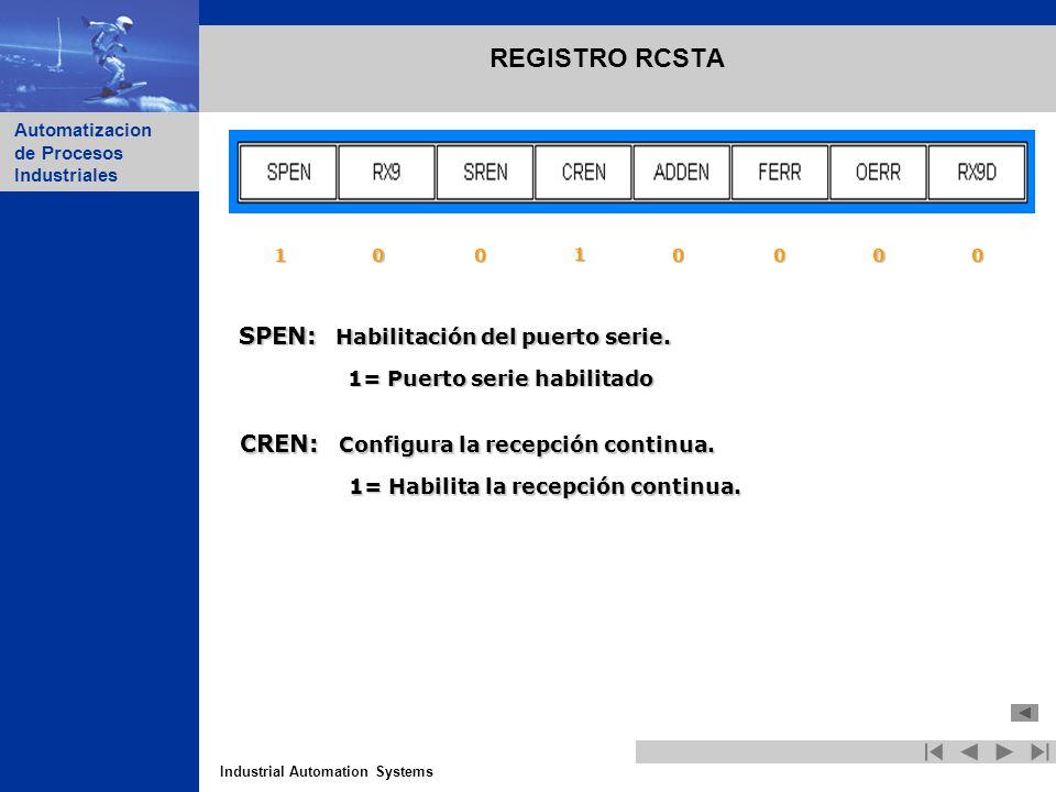 REGISTRO RCSTA SPEN: Habilitación del puerto serie.
