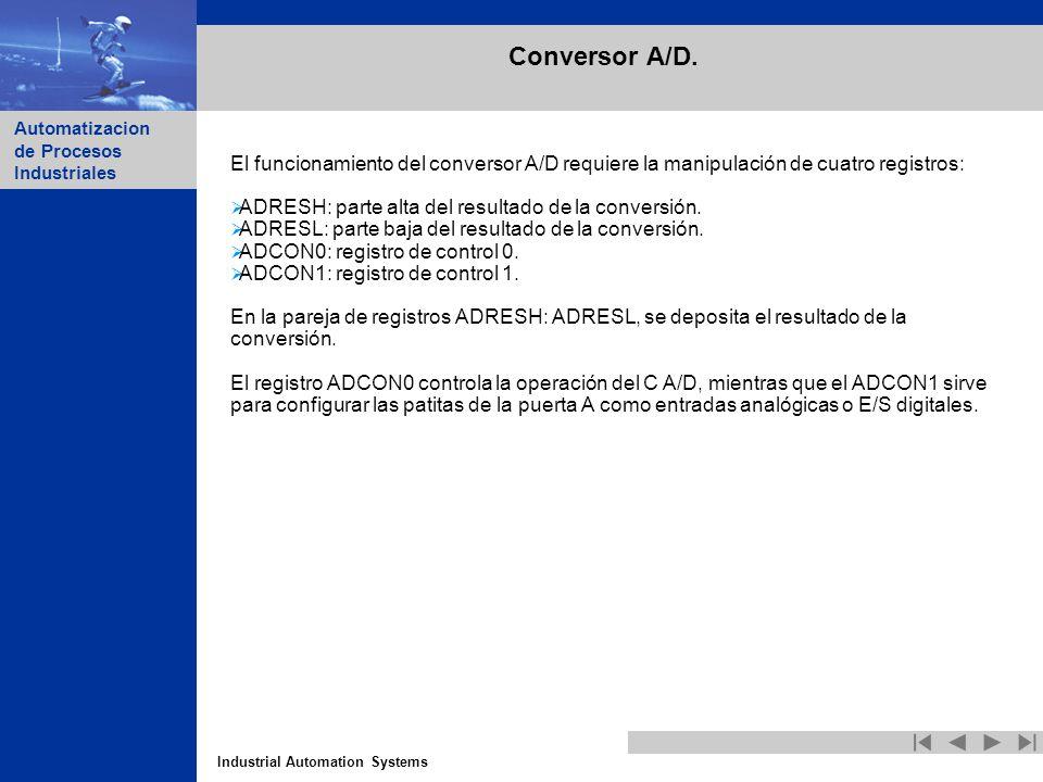 Conversor A/D. El funcionamiento del conversor A/D requiere la manipulación de cuatro registros: ADRESH: parte alta del resultado de la conversión.