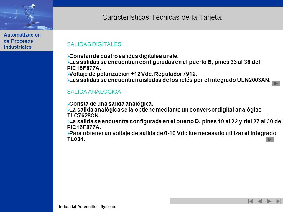 Características Técnicas de la Tarjeta.