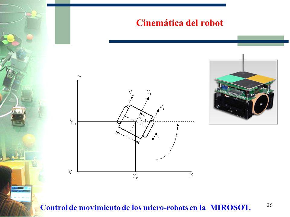 Control de movimiento de los micro-robots en la MIROSOT.
