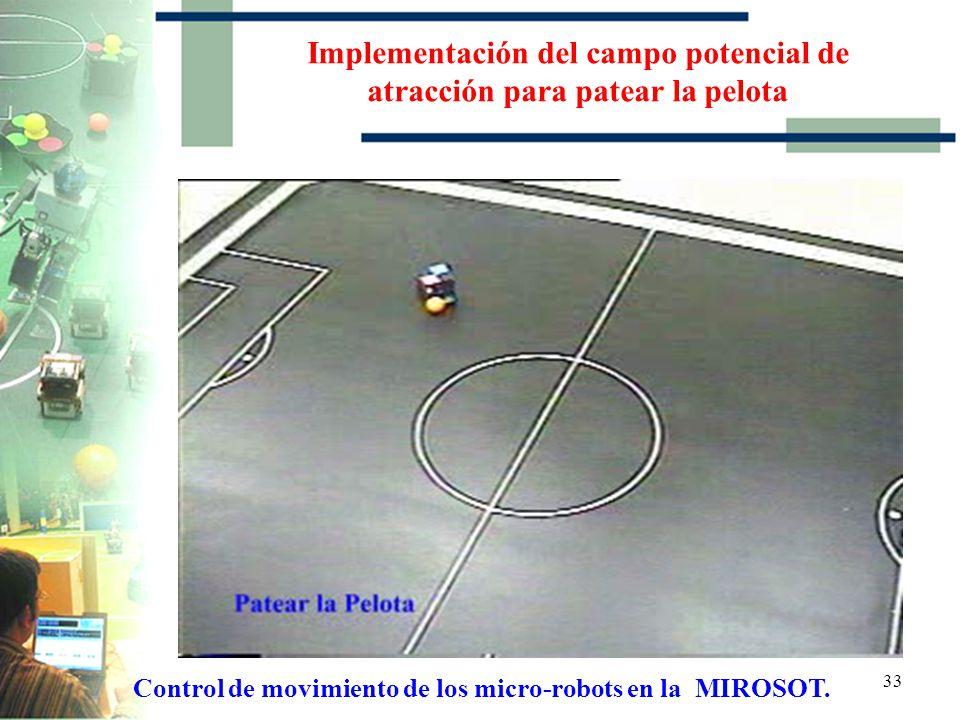 Implementación del campo potencial de atracción para patear la pelota