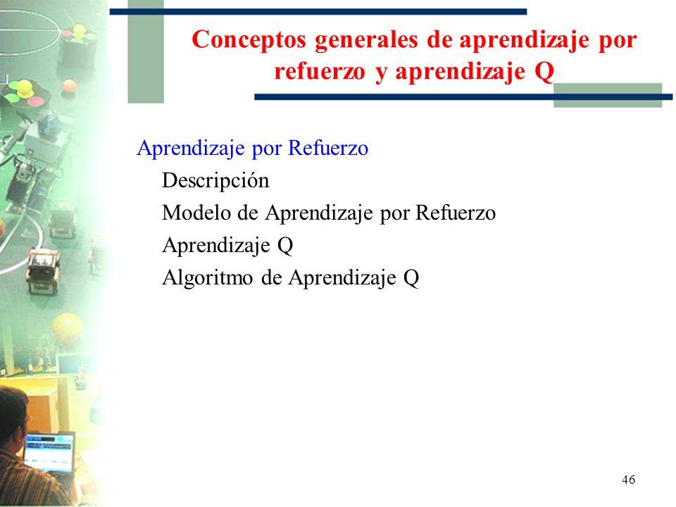 Conceptos generales de aprendizaje por refuerzo y aprendizaje Q