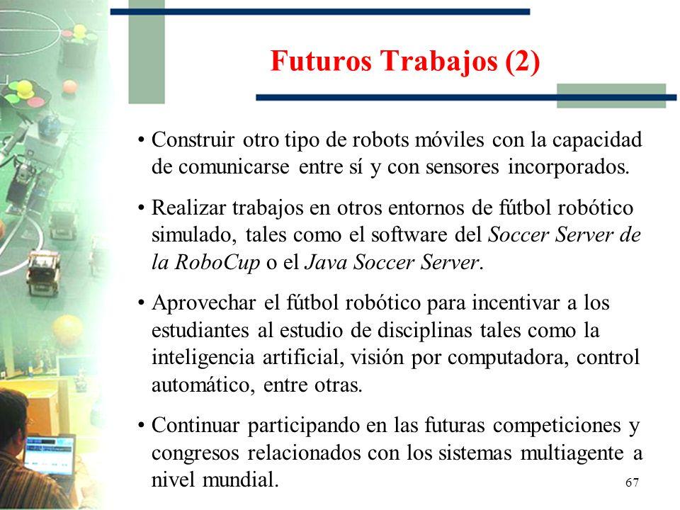 Futuros Trabajos (2) Construir otro tipo de robots móviles con la capacidad de comunicarse entre sí y con sensores incorporados.