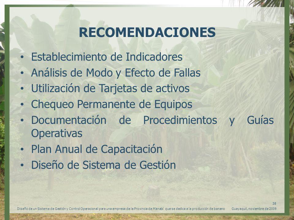 RECOMENDACIONES Establecimiento de Indicadores