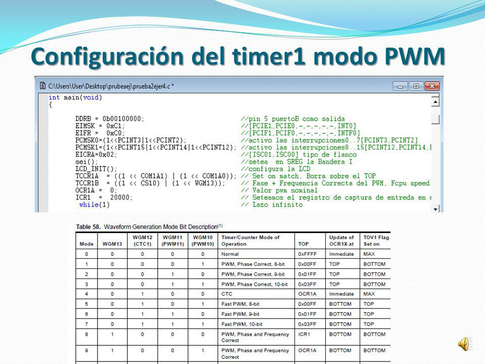 Configuración del timer1 modo PWM