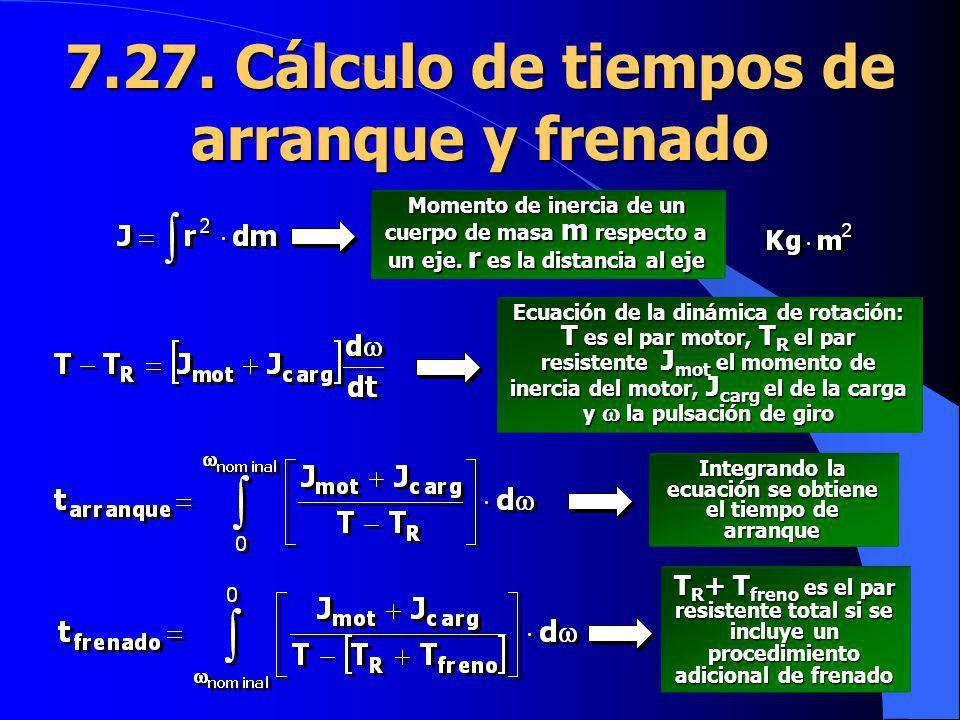7.27. Cálculo de tiempos de arranque y frenado