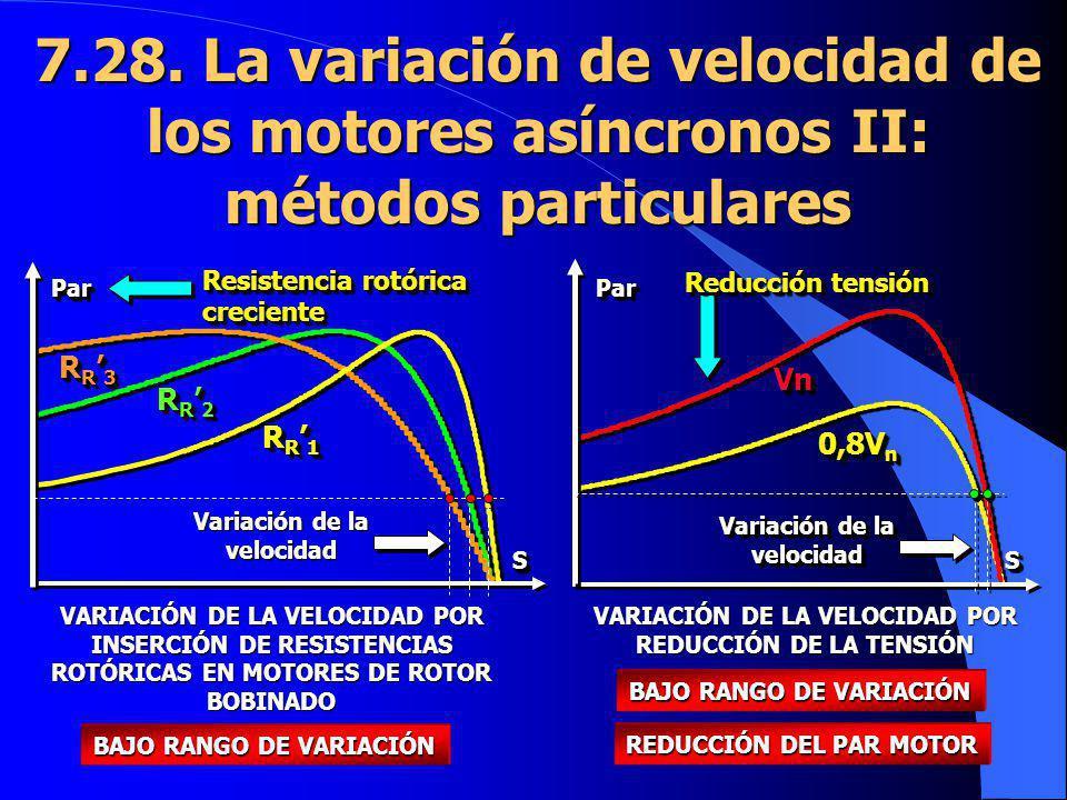 7.28. La variación de velocidad de los motores asíncronos II: métodos particulares