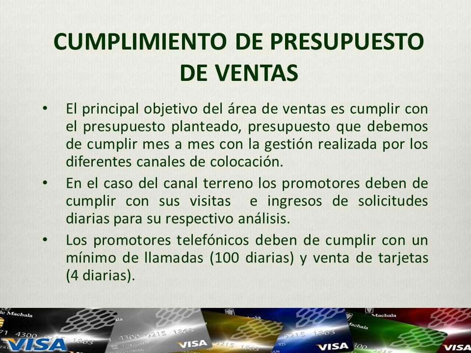 CUMPLIMIENTO DE PRESUPUESTO DE VENTAS