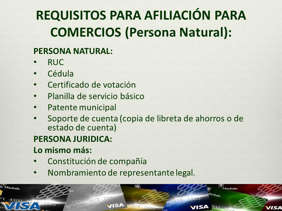 REQUISITOS PARA AFILIACIÓN PARA COMERCIOS (Persona Natural):