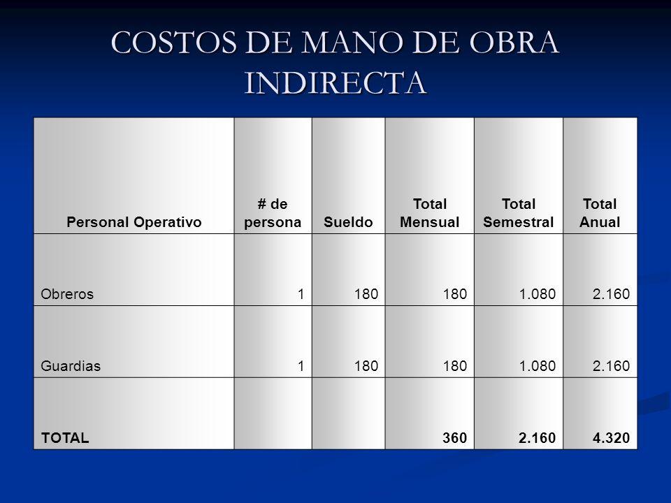 COSTOS DE MANO DE OBRA INDIRECTA