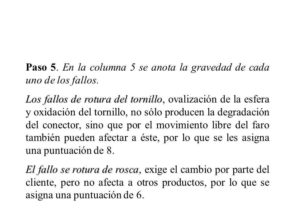 Paso 5. En la columna 5 se anota la gravedad de cada uno de los fallos.