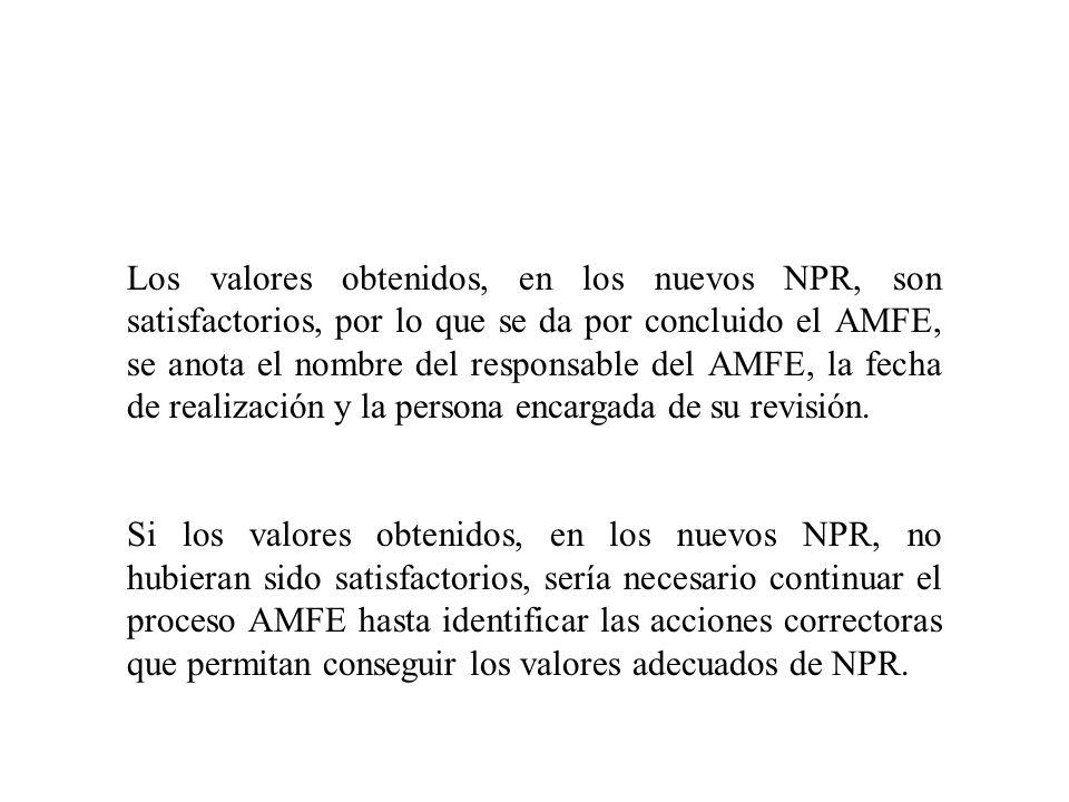 Los valores obtenidos, en los nuevos NPR, son satisfactorios, por lo que se da por concluido el AMFE, se anota el nombre del responsable del AMFE, la fecha de realización y la persona encargada de su revisión.